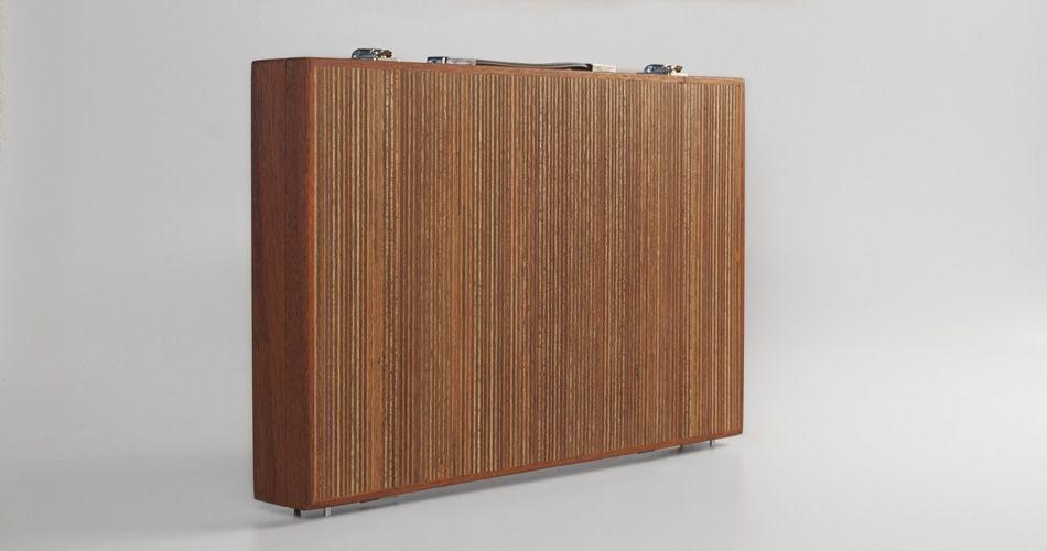 Plexwood® Berculo, malette en bois jeu de société  méranti contreplaqué moderne micro-grains panneaux  vernis