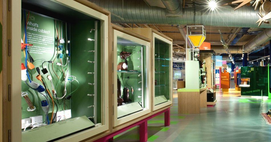 Plexwood® Birmingham Science Museum display covering and display table in birch sideways veneer plywood