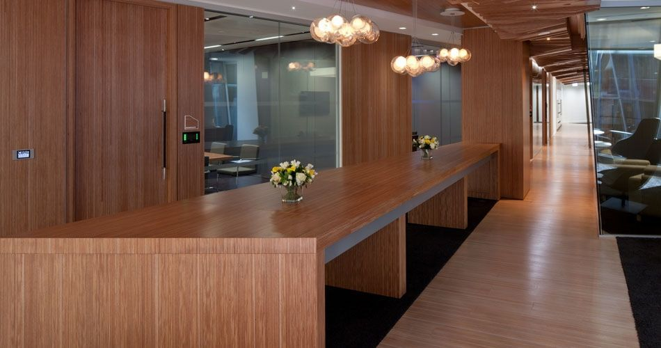 Plexwood® CBRE Global Investors integrated green office interior architecture in ocoumé cross-banded surface veneer