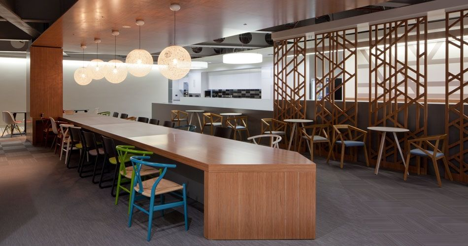 Plexwood® CBRE Global Investors eco interior cladding and flooring in ocoumé comprised plywood surface veneers