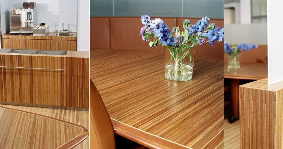 Plexwood® Consultancy Firm kitchenette and lounge area with curved wall floor cabinet and coffee table in meranti