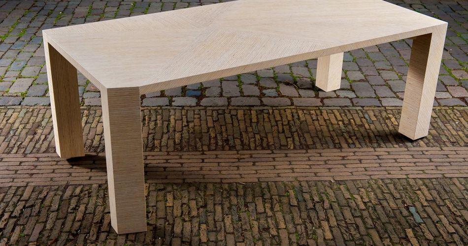 Plexwood® Saskia Dekker-Dorresteijn for Deuvel Design geometric table PER-PLEX with sliced solid deal plywood strips