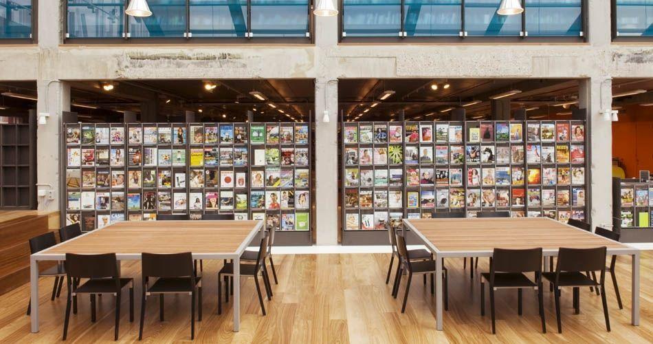 Plexwood® DOK Public Library reading tables in metal frame with top veneer wood of meranti re-ply