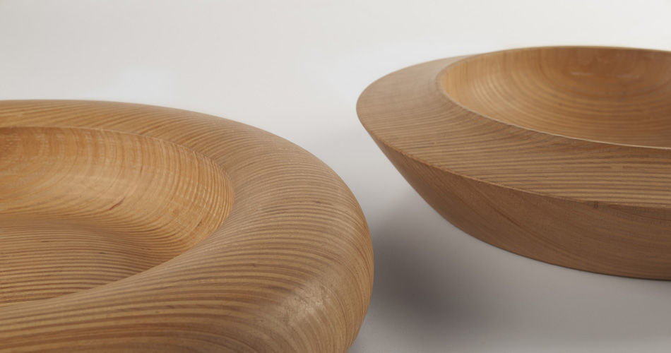 Plexwood® Erik Vos hand-turned decorative wooden bowls from reversed solid single end-ply resurfacing edges in beech