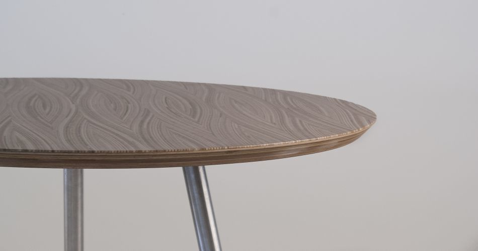Plexwood® Frank Heerema Furniture Design 3D tables made from special stacked and moulded end ply edge veneer