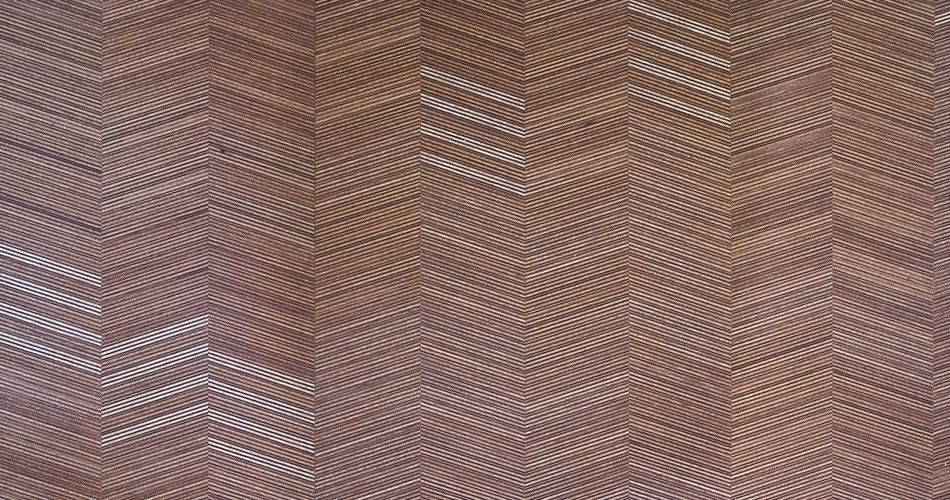 Plexwood® Herringbone designs in architectural speciality plywood materials with angles of 0, 15°, 30° or 45°