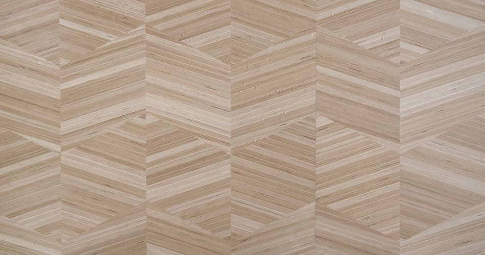 Plexwood® Parallelogram designs in architectural luxury wood veneer materials with angles of 0, 45° or 90°