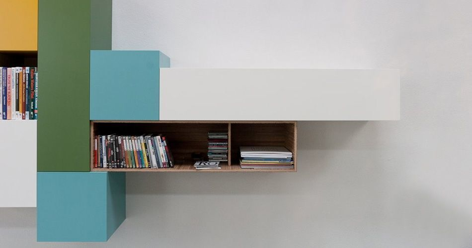 Plexwood® Kastwerk striking wall-hung office cabinet unit from stacked meranti plywood-end veneer panels