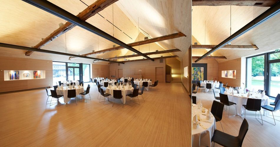 Plexwood® Kränholm Barn Knoops Park flexible event and dining hall interior in birch plywood on its side