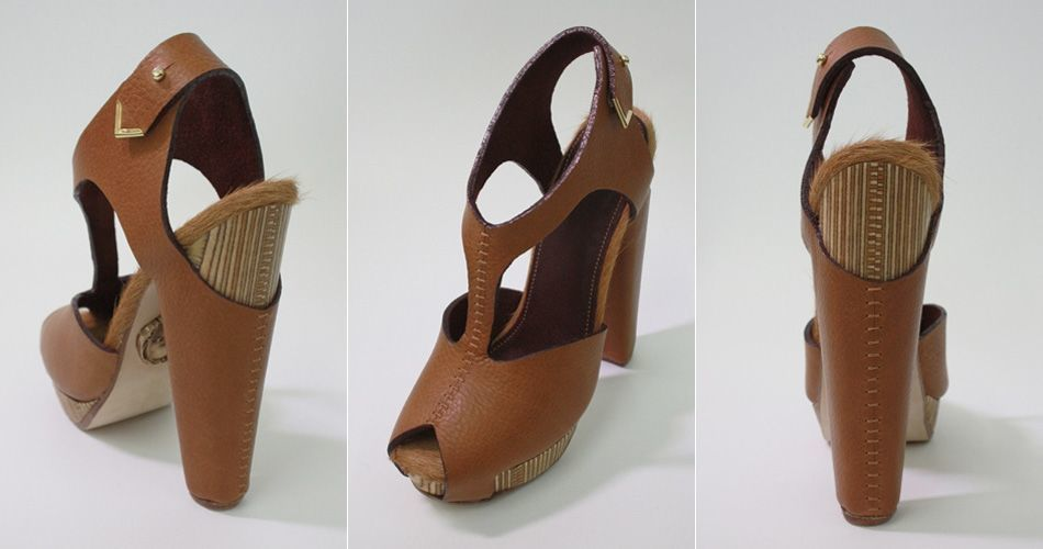 Plexwood® Molly Pryke designer shoes with wooden heels of recycled and re-laminated birch plywood edges