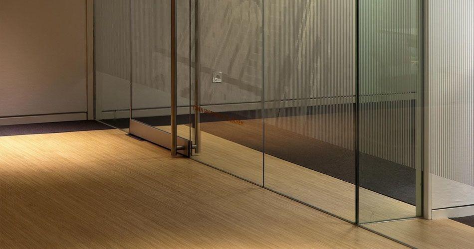 Plexwood® Rabobank engineered two-layer parquet floor detail in pine/ocoumé comprised plywood surface veneers