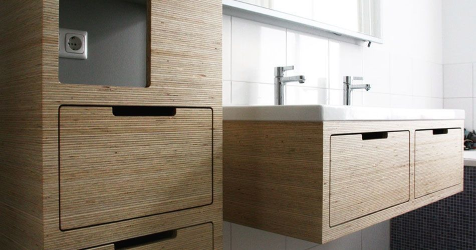 Plexwood® Amsterdam residential project with open cabinet with drawers and wall mounted vanity in deal