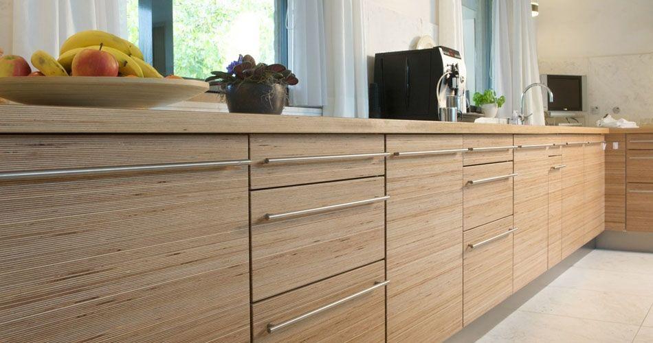 Plexwood® Residential kitchen living doors and drawers in eco birch remodelled sandwich veneer plywood