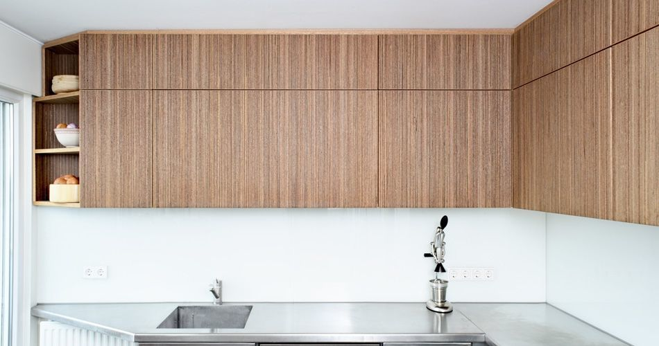 Plexwood® Residential kitchenette doors in smart meranti modified composite veneer plywood