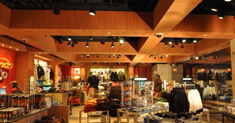 Plexwood® Sands Casino gift shop architectural woodwork tray ceiling in ocoumé inverse plywood veneer paneling