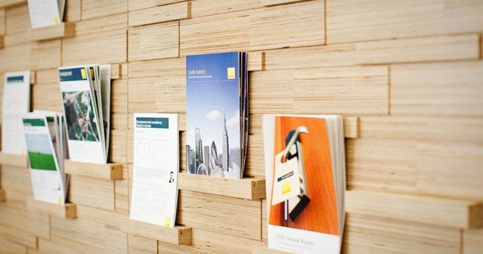 Plexwood® Savills HQ brochure wall detail in birch turned around plywood edges