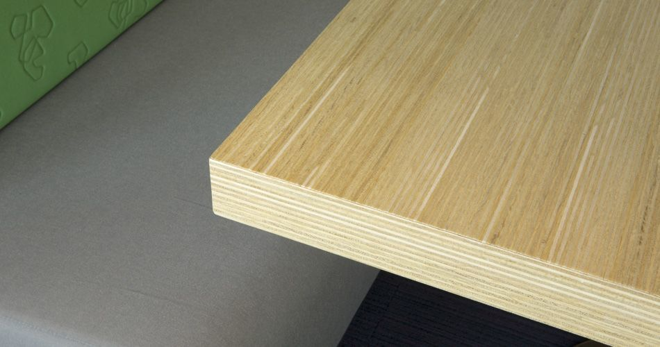 Plexwood® State Forest Management (Staatsbosbeheer) fixed table edge detail in oak reconstructed veneer ply