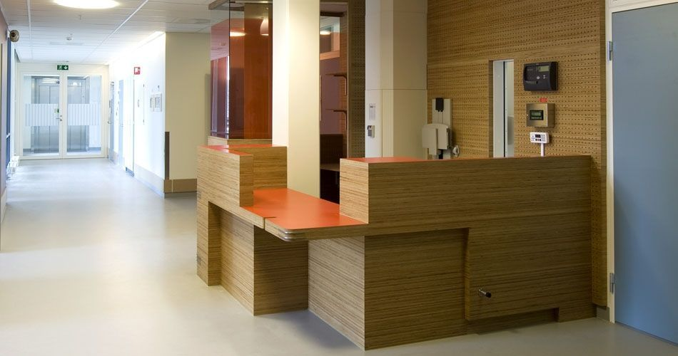 Plexwood® St. Olavs Academic Hospital environmentally responsible wood with safety requirements for medical interior applications