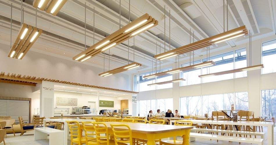 Plexwood® Co-op Group headquarters canteen ceiling lights in oak comprised plywood surface veneer