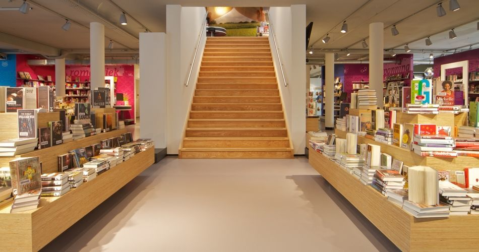 Plexwood® Vianen Public Library movable book display elements from pine decorative ply-lined veneer panels