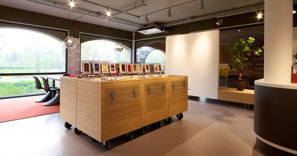 Plexwood® Vianen Public Library pine book and art diplay furniture and reading tables of re-ply plywood