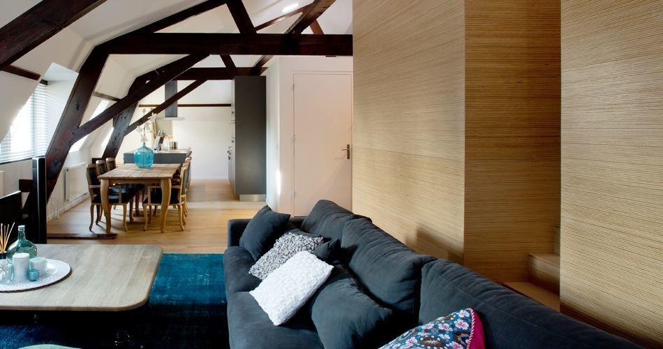 Plexwood® Villa Polder eco-friendly home central unit in pine/ocoumé maltese stacked plywood end veneers