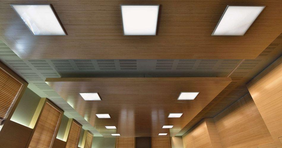 Plexwood® WBG Erfurt, verlaagd plafond met geïntegreerde verlichting gemaakt van kruislings verlijmde beuken fineren