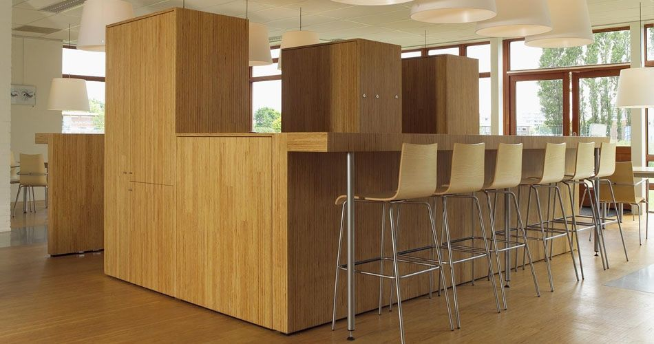 Plexwood® Wood Research Institute SHR sustainable pine surfaces for café bar coffee corner