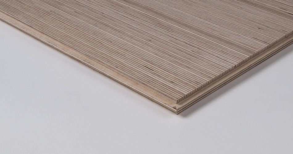 Plexwood® Speciality laminates of cross-laminated solid veneer lumber (svl) on wooden tiles for walls, ceilings and floors