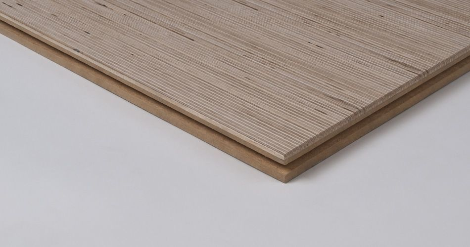 Plexwood® Industrial interior design wall and floor tiles with reconstituted edge-grain hardwood veneer ply
